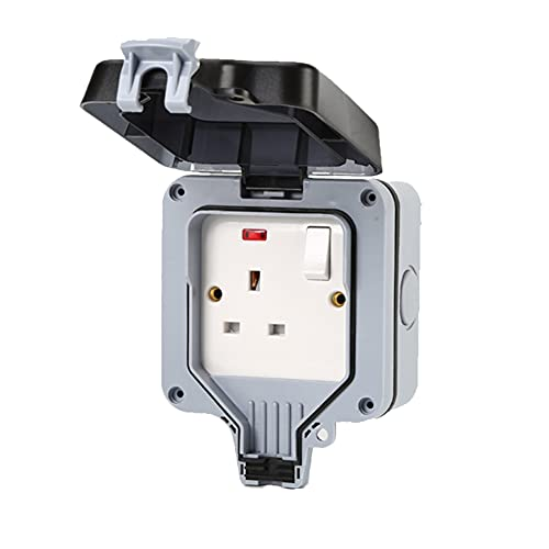 Enchufe de pared conmutado Reino Unido IP66 impermeable 13A toma de corriente de salida de enchufe individual/doble con puerto de carga USB resistente a la intemperie gris negro (A)