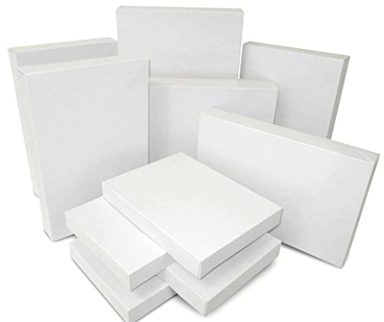 White Assorted Size Gift Wrap Packaging Present Boxes - Two Packs of 10 Boxes Each