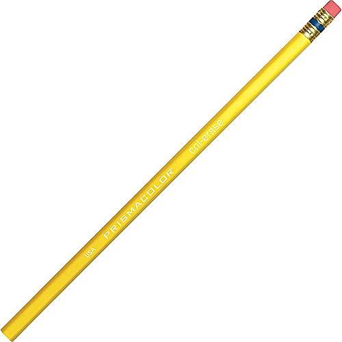 Prismacolor Col-Erase Erasable Colored Pencil, Yellow, 12 Count