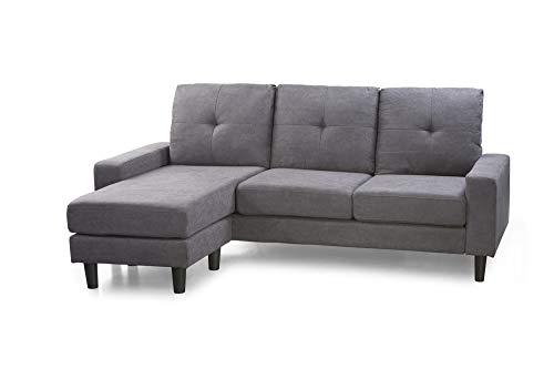 Home Heavenly®- Sofá Chaise Longue Brooklyn, sofá de salón 3 plazas esquinero Reversible, chaiselongue Derecha o Izquierda, de Color Gris Marengo y Patas Negras.