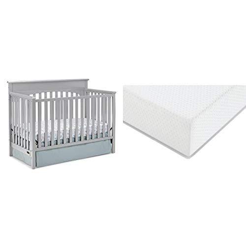Graco Lauren Convertible Crib + Graco Premium Foam Crib and Toddler Bed Mattress, Pebble Gray