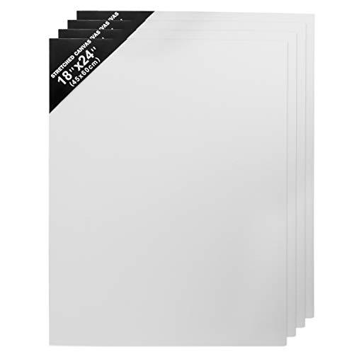 BELLE VOUS Leinwand Set (4 Packung) - (60x45cm) Weiße Künstler Leinwänd Panel - 3mm Dick Leere Leinwand zum Acrylmalerei, Öl und Aquarellmalerei - Weiße Leinwände für Bilder, Kunst