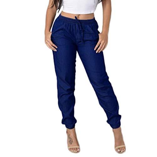 ITISME Jeanshosen 2020 Pas Cher Pantalos Femmes Automne et Hiver Taille Élastique Pantalon Décontracté Taille Haute Jeans Casual Bleu Denim Pantalons