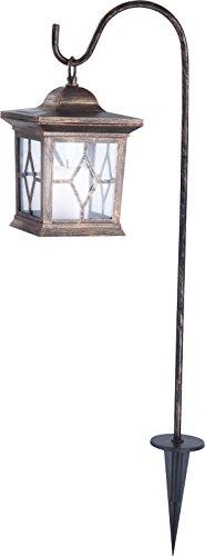 LED Solarleuchte Laterne Solarlampe Solarlicht Gartenleuchte Außenlampe (Grableuchte, Erdspieß, Kupfer Farben, Vintage, H 68 cm)