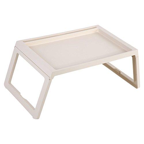 Table lit petit déjeuner, plateau de cuisine, pieds repliables, bord relevé, plateau de lit pliable, pour servir et faire petit déjeuner, 54,5 x 36 x 27 cm (beige)