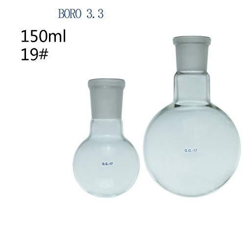 Migming 150 Ml De Ebullición Matraz De Fondo Redondo # 19 Estándar Terreno Boca Borosilicato 3.3 De Cristal A Prueba De Calor Personalizable Laboratorio Destilación Flasks- Paquete De 1