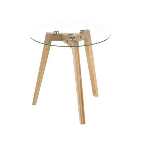 Mesa Auxiliar Redonda, de Cristal y Madera, Pequeña. Ideal para Salón/Cocina. Diseño Nórdico (40cm X 40cm X 40cm) - Hogar...