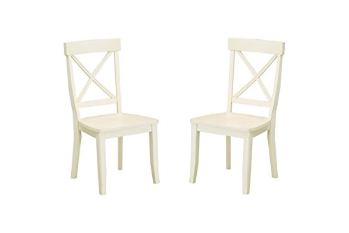 Aprodz Solid Wood Varna Dining Chair Set for Home   Set of 2 Chair   Cream Finish