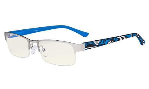 Eyekepper Blaulicht Filter -Computerbrille - Anti-Strahlen-Blendschutz-UV-Strahlen Schutz Reduziert Augen Überanstrengung Halbrand-Brillen Damen und Herren Silber/Blau
