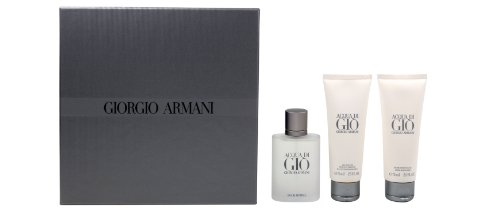 Giorgio Armani Acqua DI Gio Geschenkset homme / men, Eau de Toilette, Vaporisateur / Spray 50 ml, Duschgel 75 ml, After Shave Balm 75 ml, 3 Artikel