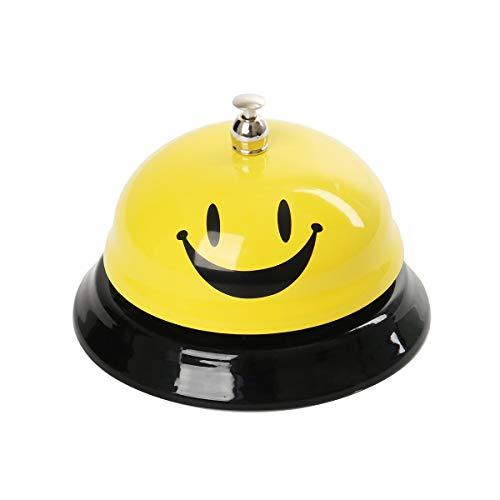Funhoo Tischklingel Tischglocke Smiley Anruf Service Bell Metall Rezeptionsklingel mit klarem Klang für Hotel Restaurant Bar 6 x 8,5cm (Gelb)