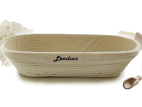 Leodion Gärkorb für selbstgemachtes Brot - mit Leineneinsatz (Oval | Ø 35 cm)