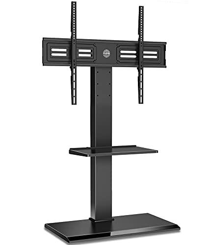 FITUEYES TV Bodenständer mit Eisenbasis 2 Regale TV Standfuß TV Ständer Fernsehstand höhenverstellbar schwenkbar neigbar für 55 bis 85 Zoll Flachbildschirm bis zu 50kg Max. VESA 600 * 800