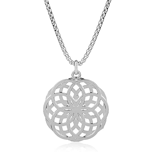 xu Joyería de Plata al por Mayor de la Flor de la Vida Collar Colgante de Dos Tonos de Metal para Hombres 银色