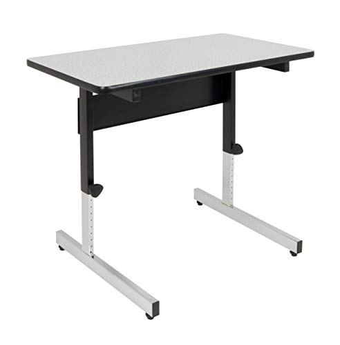 Calico Designs Adapta Height Adjustable Office Desk, All-Purpose Utility Table, Sit to Stand up Desk Home Computer Desk, 23' - 32' in Powder Coated Black Frame and 1' Thick Grey Top, 36 Inch