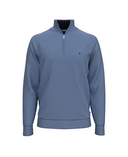 Tommy Hilfiger Men's 1/4 Zip Mockneck Sweatshirt,Fleet Blue Heather,XL