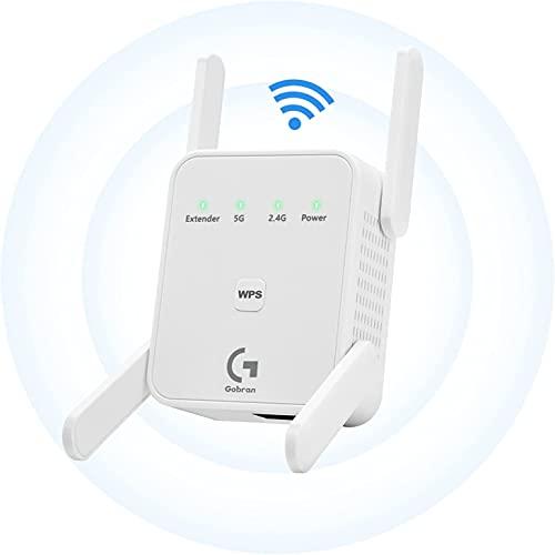 WLAN Verstaerker 1200Mbit/s, WiFi Repeater Dualband 5GHz 2.4GHz für zu Hause, Port Ethernet/LAN/WPS Verstärker, AP/Repeater/Router Modus, Einfach Einzurichten, Kompatibel zu Allen WLAN Geräten, Weiß