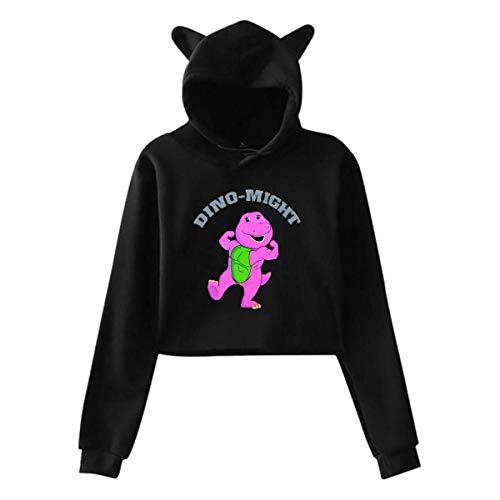 Ahdyr Sudadera con Capucha para Mujer Dino Might Buff Barney The Dinosaur Personality Cat Ear