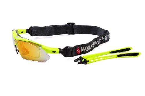 WOLFBIKE BYJ-013 Sonnenbrillen Radsport brille Fahrradbrille f. Außen Skilaufen Radfahren Fahrräder und andere Sport-Schutz mit 5 Wechselobjektiven (Grün) - 8