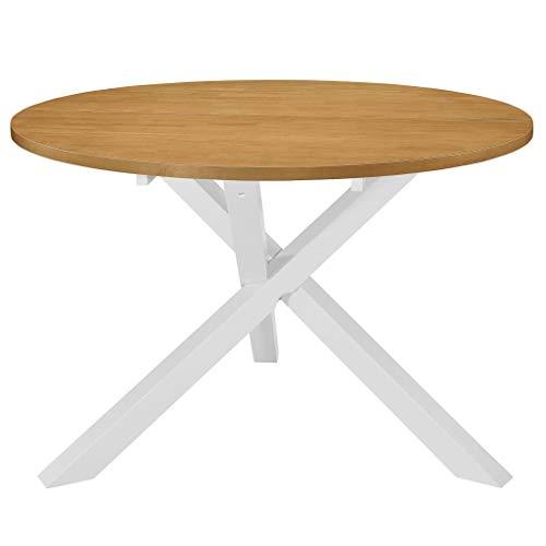 vidaXL Tavolo da Pranzo Rotondo Elegante Rustico Arredo Cucina Sala con Impiallacciatura Bianco e Marrone 120x75 cm in MDF Ripiano in Legno Hevea