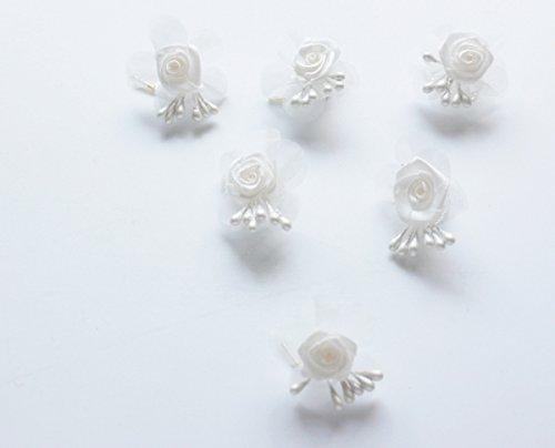 Haarschmuck Curlie - 6 Haarspiralen mit Satinrose und Tüll Farbe beige Hochzeit Braut