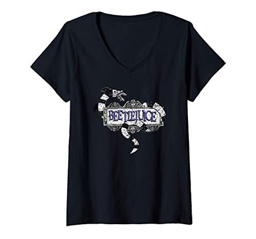 Damen Beetlejuice Women\'s Sandworm Logo T-Shirt mit V-Ausschnitt