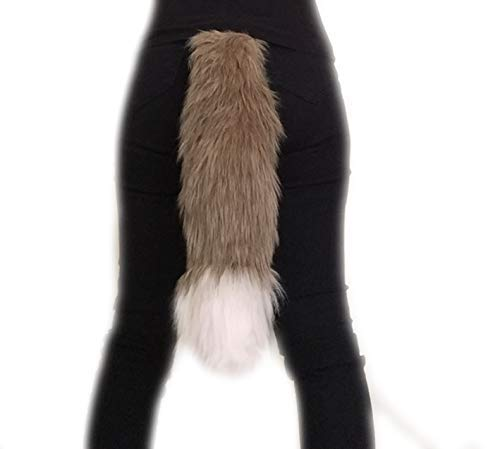 """Golden Brown and White Faux Fur Fox Cosplay Tail, You choose the size 15 20 25 30 35 40 45"""" Anime Convention Rave Costume Gear, Furry Fuzzy Accessory, Animal Tail"""