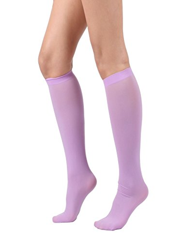Women's Semi Opaque Knee High Trouser Sock 3pair / 6pair (One Size : XS to M, 3pair-Lavender)