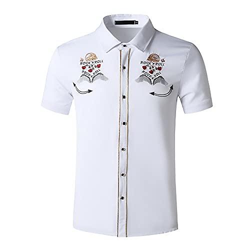 Camisa Casual Hombre Slim Fit Moda Bordado Estampado Hombre Camisa Verano Vintage Botón Tapeta Empalme Hombre Shirt Tendencia Clásica Manga Corta Hombre Camisa De Negocios J-White 3 M