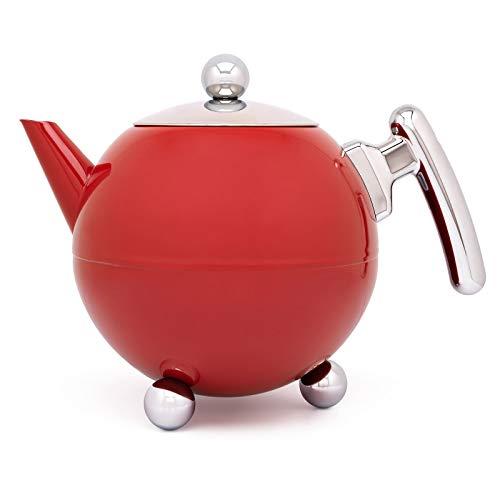 Bredemeijer rote bauchige doppelwandige Edelstahl Teekanne 1.2 Liter