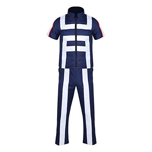 Agoky Unisex Cosplay Kostüm Uniform Anime Manga Mein Held Turnier Sportfest Schule Fans Outfits Training Anzug für Damen und Herren Weiß&Blau S