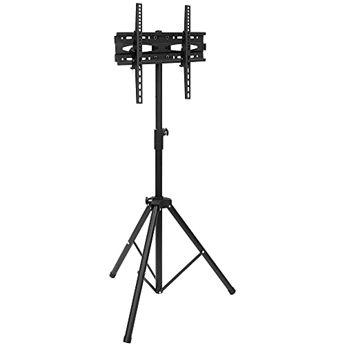 Mount-It! TV Tripod Stands for Flat Screens - Holds 77 Pounds and Carries 43-65 Inch Flat or Curved Screens | TV Floor Stand Adjustable Max Height of 6 Feet | Portable Tv Stands Assembles in Seconds