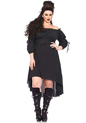 Leg Avenue Women s Size Plus High Low Peasant Dress, Black, 3X   4X