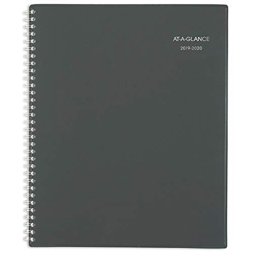 """AT-A-GLANCE 2019-2020 Academic Year Weekly & Monthly Planner, Large, 8-1/2"""" x 11"""", Charcoal (AYC54545)"""