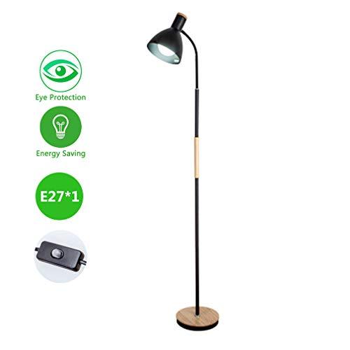 DSELP Lámpara de pie E27, Lámpara de pie para Salón Cuello de Cisne Flexible Luz Cuidado Ojos Bajo Consumo Leer Lámpara pie para el Dormitorio de la Sala de Estar Oficina,Negro