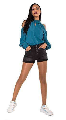 Crazy Age Damen Bermuda Shorts Damen High Waist Shorts Kurze Hosen 5 Pocket Jeans-Shorts | Lockere Kurze Hose aus hochwertigen Denim (36, Schwarz)