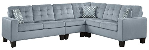 Homelegance Lantana 84' x 107' Fabric Sectional Sofa, Gray