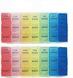GCOA 2 Piezas Pastillero Semanal 3 Tomas 7 Días, Organizador de Medicamentos, con 21 Compartimentos...