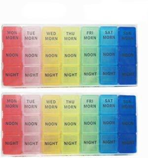 GCOA 2 Pezzi PortaPillole Settimanale Contenitore per Pillole con 7 Giorni, Ogni Giorno con Scomparti per Mattino, Pomeriggio, Notte, Promemoria per Pillole - Inglese,21 Scomparti