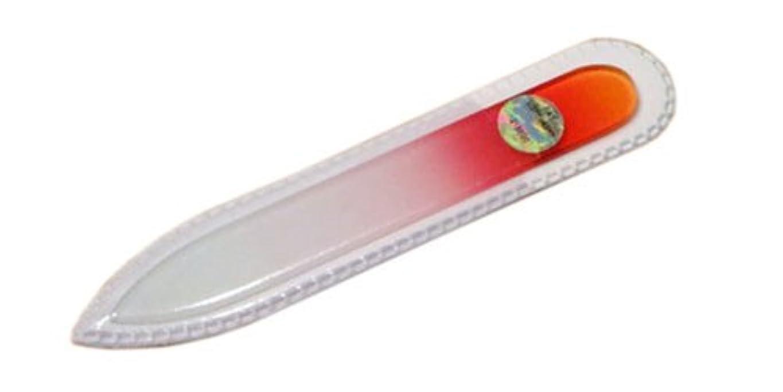 にぎやか松序文ブラジェク ガラス爪やすり 90mm 両面タイプ(オレンジグラデーション #01)