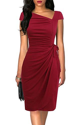 Liyinxi Retro Womens Short Sleeve Irregular Neck Knee Length Sheath Work Pencil Tie Waist Midi Burgundy Party Wrap Dress (L, 8022-Burgundy)