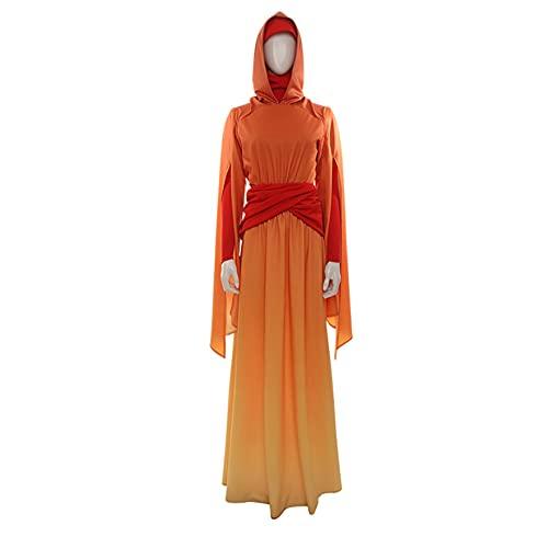 XNheadPS Star Wars Padme Amidala Queen Cosplay Disfraz Disfraz de Halloween Monos Princesa Handmaidens Vestido Naranja Traje de Fiesta para Mujer,Orange- XS/153~157cm