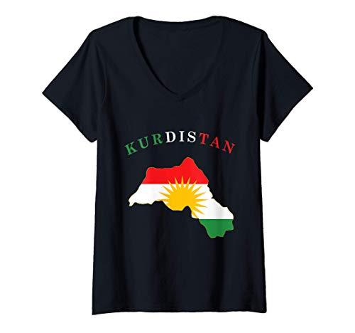Damen Kurdistan Flagge Fahne Mappe T-Shirt mit V-Ausschnitt