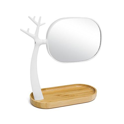 Balvi Make-up spiegel Natuur twee gezichten X3 verhoogt Met plank en ondersteuning voor sieraden ABS plastic