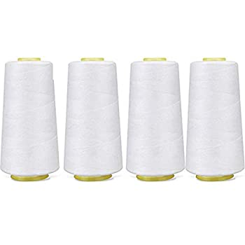 4 Pack of 6000 Yard Each Spool  White  Sewing Thread All Purpose 100% Spun Polyester Overlock Cone  Upholstery Canvas Drapery Beading Quilting,Serger,Over Lock Merrow Single Needle