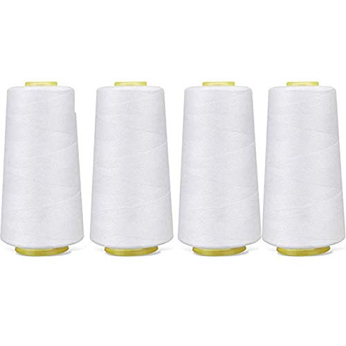 4 Pack of 6000 Yard Each Spool (White) Sewing Thread All Purpose 100% Spun Polyester Overlock Cone (Upholstery, Canvas, Drapery, Beading, Quilting,Serger,Over Lock, Merrow, Single Needle)