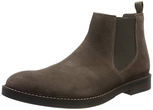 Clarks Herren Paulson Up Chelsea Boots, Grau (Taupe Suede), 43 EU