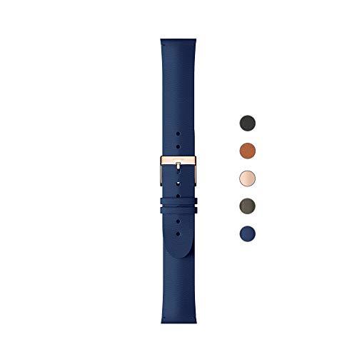 Withings Pulseras deportivas de piel de calidad para los relojes Steel HR, Steel HR Sport, Move ECG, Move y Steel [Exclusiva Amazon], Azul - Hebilla de oro rosa - Sin costo, Cuero 18 mm