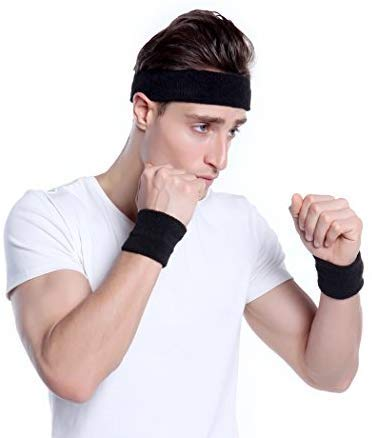 Style Along Black Outdoor Fitness Sports Sweatband Headband Yoga Gym Head Band and Wrist Band for Men- Pack of 3