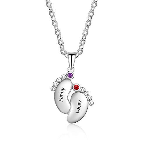 Grand Made Collar Personalizado con Nombre del pie del bebé en Plata Collar de cumpleaños para la Madre con 2 Collar de Nacimiento con Nombre 2 Nombre Grabado Nombre Joyería para Mujer
